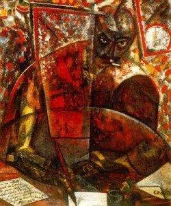"""CARRA Carlo """"Portrait de Marinetti"""", 1910-11, huile sur toile, 100x80cm, Collection privée."""