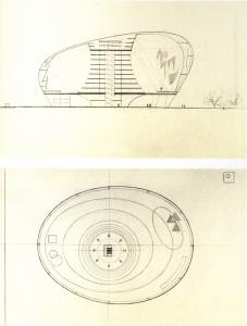 """Coupe et plan du """"Théâtre Spatiodynamique"""" de Nicolas Schöffer et Claude Parent, 1954-1957"""