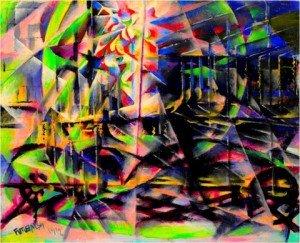 "BALLA Giacomo,""Excès de vitesse automobile"", 1912, huile sur bois, 56x69cm"