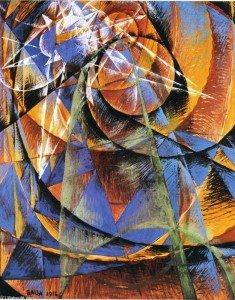 """BALLA Giacomo """"La planète Mercure passant devant le soleil"""" , 1914, huile sur toile, 120x100cm"""