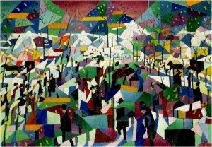 SEVERINI Gino, «Le boulevard» , 1911, huile sur toile, 64x95cm