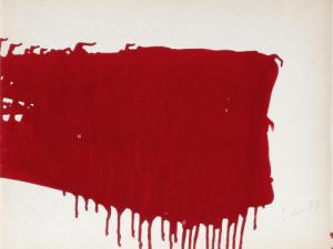 KLEIN Yves, Monochrome rouge sans titre (coulée) (M 18), 1957, 50x65 cm