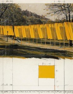 CLAUDE Christo, the gates project for central park, New York, collage,1980