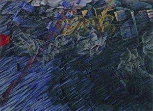 """BOCCIONI Umberto """"Ceux qui partent"""", 1911, huile sur toile, 70,8x95,9cm, MOMA, New-York"""