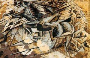 """BOCCIONI Umberto """"Charge des lanciers"""", 1915, tempera et collage sur papier, 32x50cm, Musée d'art contemporain, Milan"""