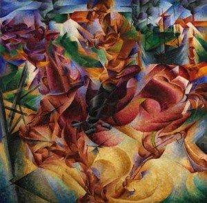 """BOCCIONI Umberto """"Elasticité"""" , 1912, huile sur toile, 100x100cm, Musée d'art contemporain, Milan"""